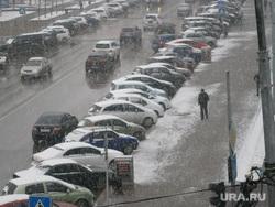 Тюмень. Снегопад 2, снегопад, парковка на обочине
