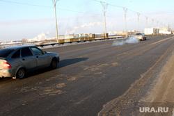 Мост ул Бурова Петрова (дорожное покрытие) Курган, мост улица бурова петрова, плохой асфальт
