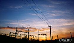 Разное. Челябинская область, провода, закат, промзона, промышленность, столбы, завод