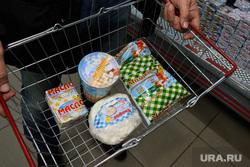 Контрольная закупка Юргамышского молока. Курган, корзина с продуктами