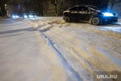 Снег и не расчищенные дороги. Тюмень, колея, снег