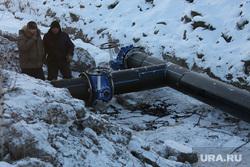 Визит Евгения Куйвашева в Сухой Лог. Исправление коммунальной аварии, трубопровод, водоснабжение, труба, рабочие