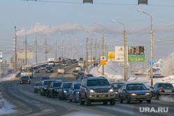 Зимний Курган., зима, улица пролетарская, мост через жд