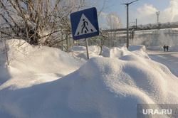 Рабочая поездка губернатора Дубровского в Ашу. Челябинск, пешеходный переход в снегу