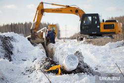 Прокладка нового газопровода высокого давления. Газпром газораспределение Екатеринбург, экскаватор, газопровод, раскопки