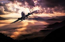 Открытая лицензия на 04.08.2015. Самолеты. , самолет, закат