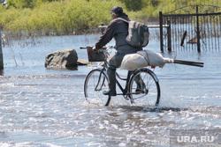Шоссе Тюнина паводок Курган, велосипедист в воде