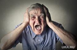 Клипарт depositphotos.com, Разгневанный дед, злой пенсионер, кричащий старик