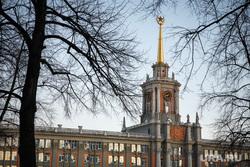 Весна в Екатеринбурге, деревья, здание администрации екатеринбурга