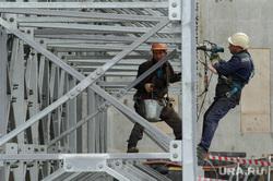 Реконструкция Центрального стадиона к ЧМ-2018 по футболу. Екатеринбург, монтажные работы, строительная площадка, строительство, рабочие