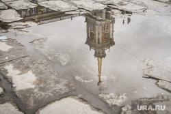 Администрация Екатеринбурга., лужа, отражение, здание администрации екатеринбурга