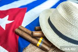 Клипарт сток depositphotos.com, шляпа, кубинский флаг, куба, кубинские сигары