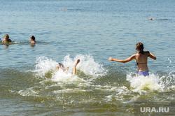 Городской пляж на Шершневском водохранилище Челябинск, лето, жара, отдых на воде, городской пляж шершневский