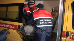 Прилет вертолета МЧС с туристом, обмороженным под перевалом Дятлова, центр медицины катастроф