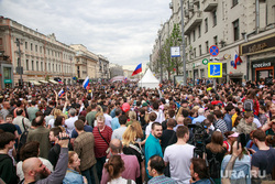 Несанкционированный митинг на Тверской улице. Москва, тверская, митинг, горожане, день россии
