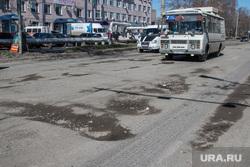 Рейд инспекции ОНФ по дорогам Кургана, пазик, ямы в асфальте, убитая дорога, улица химмашевская