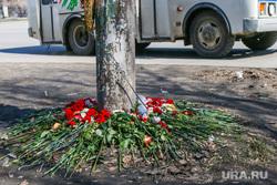 Место гибели семилетнего ребенка под колесами автобуса в Кургане, гвоздики, пазик, цветы у дороги, колеса автобуса