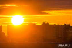 Клипарт. Нижневартовск, солнце, закат, спальный район, вечер, город