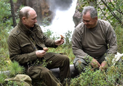 Отпуск Владимира Путина в Тыве, шойгу сергей, путин владимир, отпуск, река, рыбалка