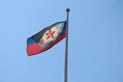 Флаг ЛНР в Дамаске Сирии вместо украинского, флаг лнр