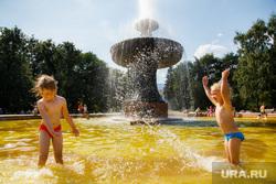 Жара в Екатеринбурге. Фонтан в дендропарке и Плотинка, лето, жара, дети, фонтаны