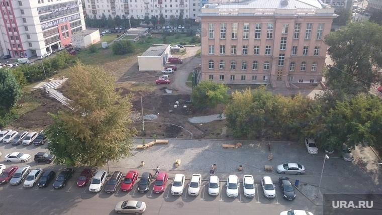 Обустройство сквера и парковки у Публичной библиотеки. Челябинск, парковка публичная библиотека