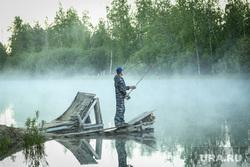 Клипарты. Сургут , река, лес, рыбак, рыбалка