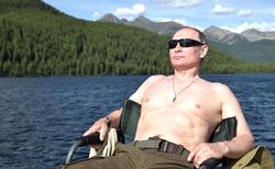 Отпуск Владимира Путина в Тыве, путин владимир, отдых, отпуск, река, рыбалка