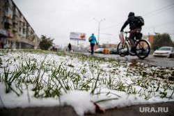 Первый снег. Екатеринбург, осень, трава, первый снег, осень, зима