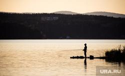 Чебаркуль , природа, рыбак, рыбалка, озеро, сумерки, отдых на природе, лето