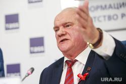 Пресс-конференция КПРФ в ТАСС с участием лидера партии Геннадием Зюгановым. Москва, зюганов геннадий, жест
