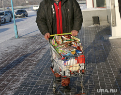 Рейд МЧС по местам продажи фейерверков. Курган, тележка с продуктами, новогодние закупки