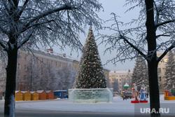 Зимний Курган., площадь ленина, новогодняя елка, город курган, зима