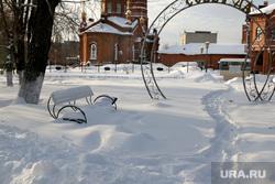 Городской сад зима. Курган., городской сад в снегу, зима