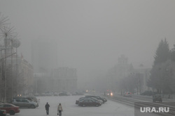 Туман в городе. Курган, площадь ленина, туман, плохая видимость, зима