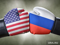 Клипарт depositphotos.com, боксерские перчатки, противостояние россия сша, поединок россия сша