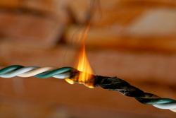 Клипарт, пожар, электричество, проводка, огонь, сгоревший провод, возгарание