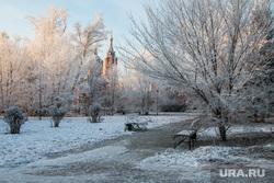 Разное. Курган, храм александра невского, город курган, снег, зима, городской сад, природа, иней на деревьях