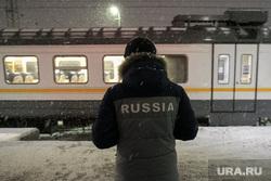 Поезда дальнего следования на железнодорожном вокзале во время снегопада. Рязань, снег, вокзал, поезд, электричка, зима, россия, путешествие, пассажир, ржд, турист, жд, пассажиры, туризм, железная дорога, цппк