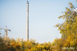 Осенний Екатеринбург, телебашня, строительный кран, заброшенная, осень, недостроенная