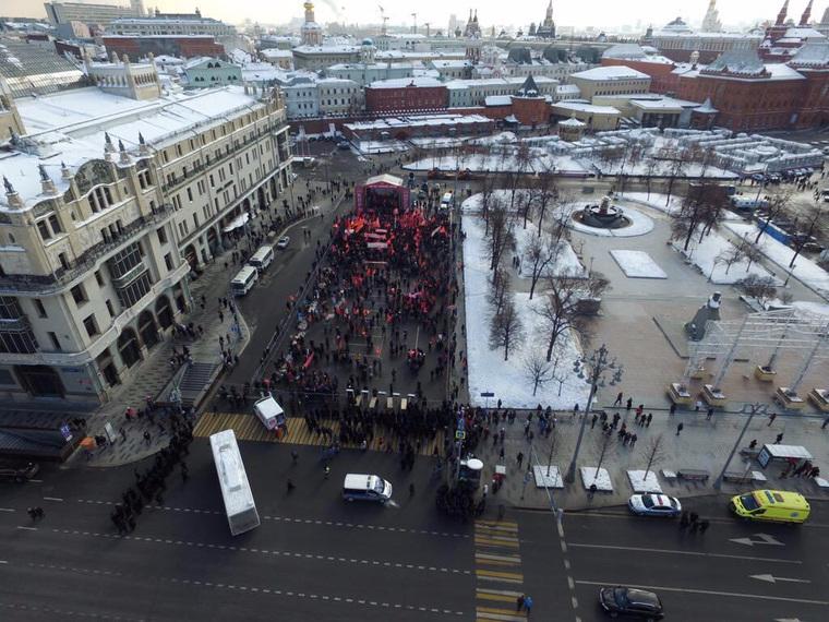 Митинг КПРФ в Москве собрал в пять раз меньше людей, чем ожидалось