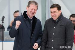 Торжественное открытие новой ледовой арены. Свердловская область, Реж, козицын андрей, куйвашев евгений, улыбка, жест рукой