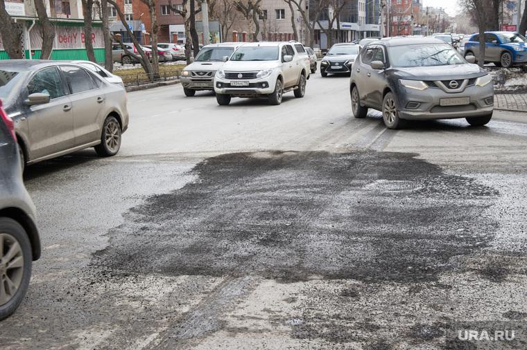 Состояние дорог Екатеринбурга, заплатка на асфальте, перекресток белинского энгельса