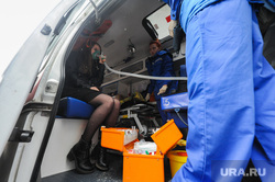 Учения МЧС на пожаре в Правительстве Челябинской области. Челябинск, пострадавший, скорая помощь