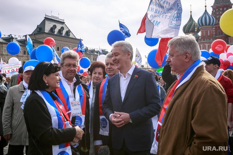 Первомайская демонстрация в Москве на Красной площади. Москва, собянин сергей, первомайская демонстрация, первомай, красная площадь