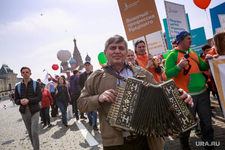 Первомайская демонстрация в Москве на Красной площади. Москва, красная площадь