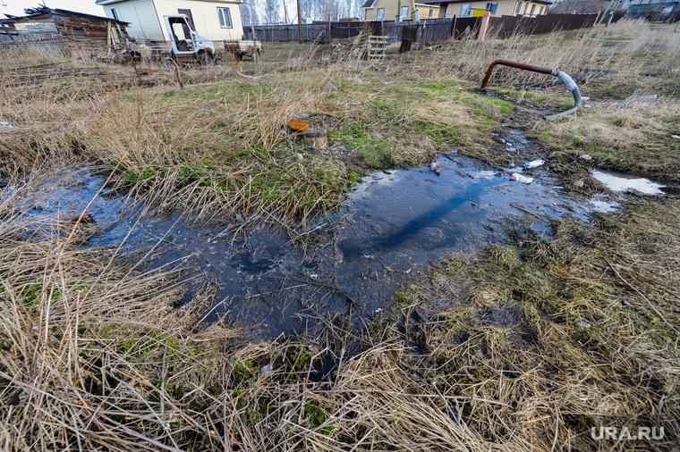 Канализационные стоки в поселке Трубный, Сосновского района Челябинской области, ручей, канализационные стоки