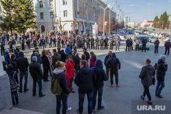 Несанкционированное шествие сторонников Навального у кинотеатра Россия. Курган, митинг, оцепление, несанкционированный митинг