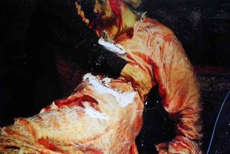 Размещено фото повреждений картины Репина «Иван Грозный»
