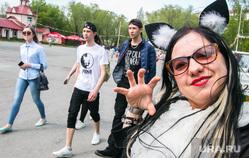 Пушкинский праздник в Центральном парке культуры и отдыха. Курган, молодежь, костюм кошки, девочка-кошка